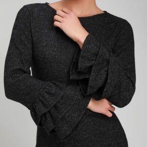 NWT Lulus Rooney Dark Grey Flounce Sweater Dress